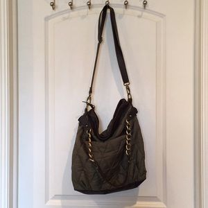 Olive green nylon and leather purse